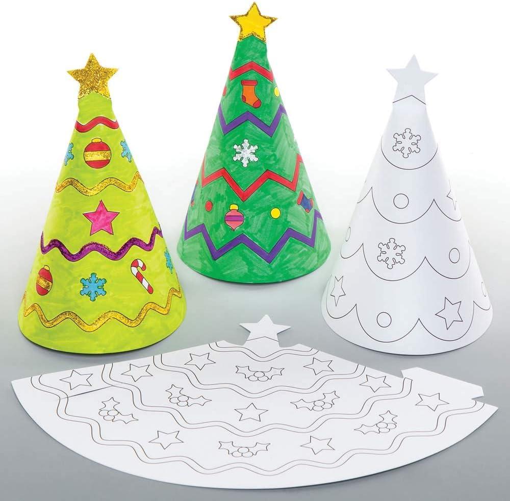 Baker Ross Adornos cónicos navideños para Colorear (Pack de 12 ...