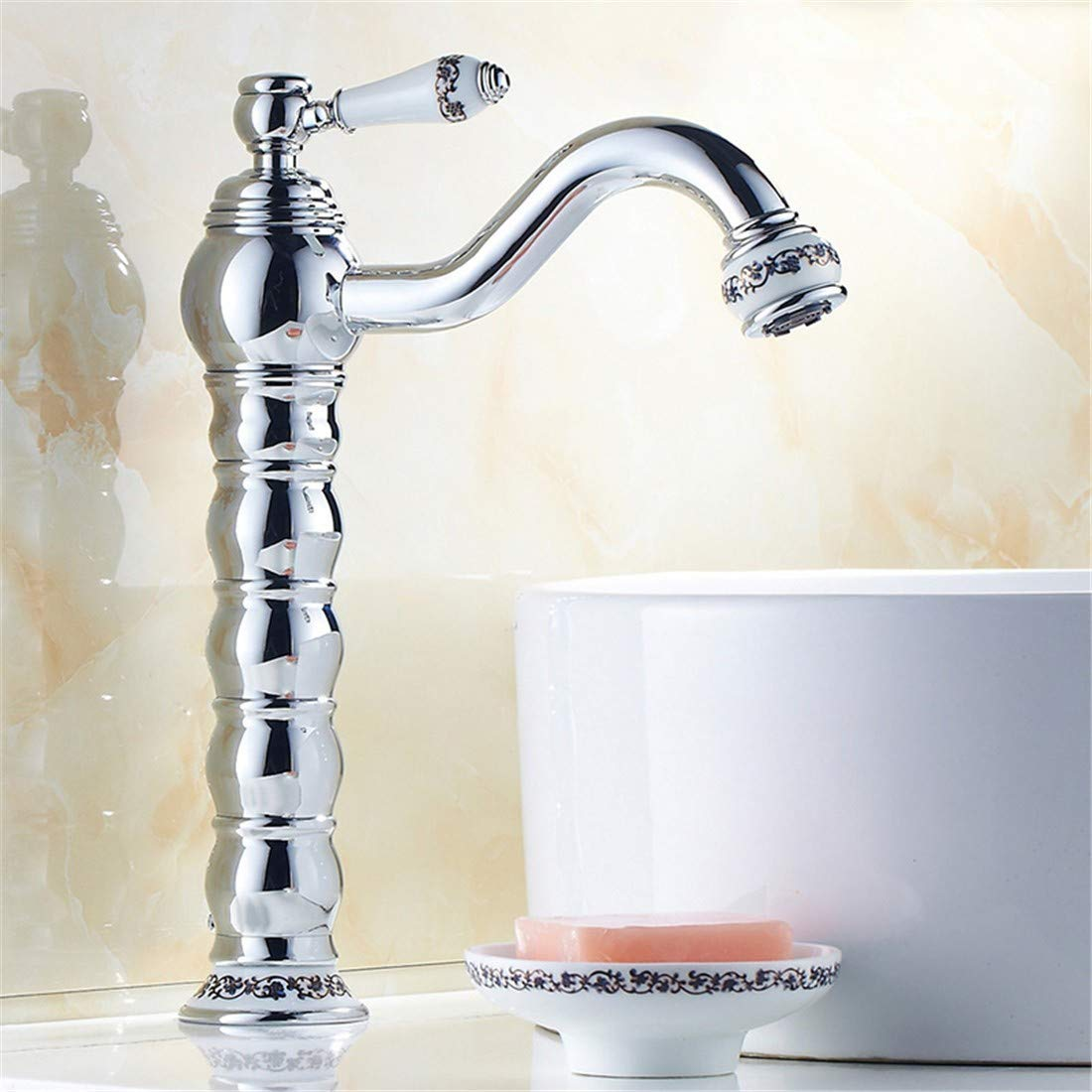 10 LHbox The copper gold faucet hot and cold can redate the European Table Top basin mixer with high bluee enamel gold plated antique fittings, chrome plated standard redation)