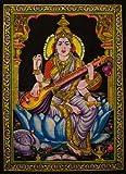 "Cotton Canvas Goddess SARASWATI 43"" X 30"" Tapestry"