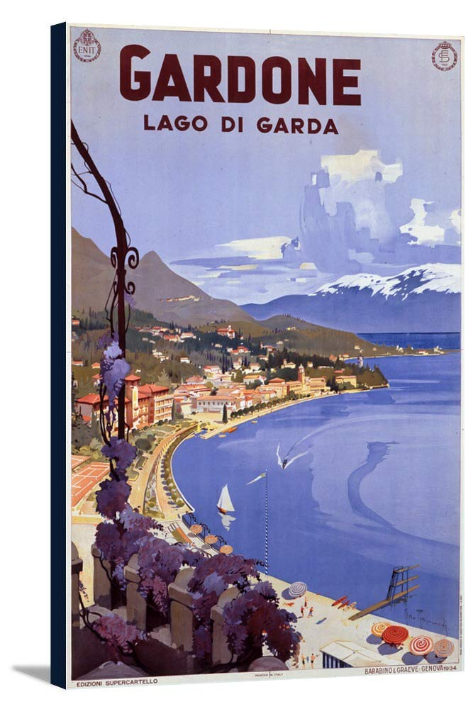 Gardone – Lago di Gardaヴィンテージポスター(アーティスト: torimondi )イタリアC。1934 22 7/8 x 36 Gallery Canvas LANT-3P-SC-60059-24x36 B0184AZ76E  22 7/8 x 36 Gallery Canvas