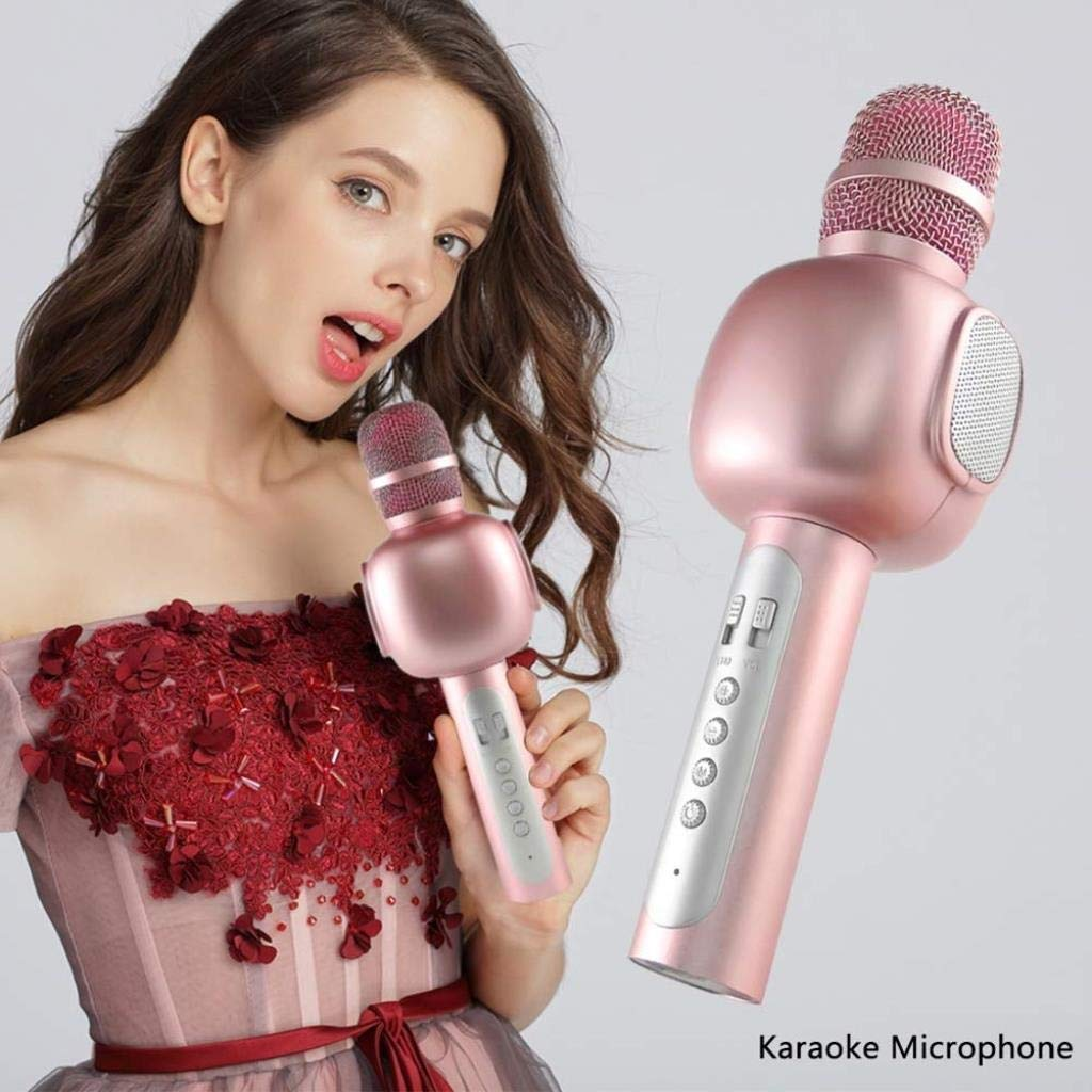 Rsiosle Wireless Bluetooth Karaoke Microphone Mik Speaker Music Player Phone Microphones Portable KTV Mic Compatible with Android and iOS ( Color : Pink ) by Rsiosle (Image #2)