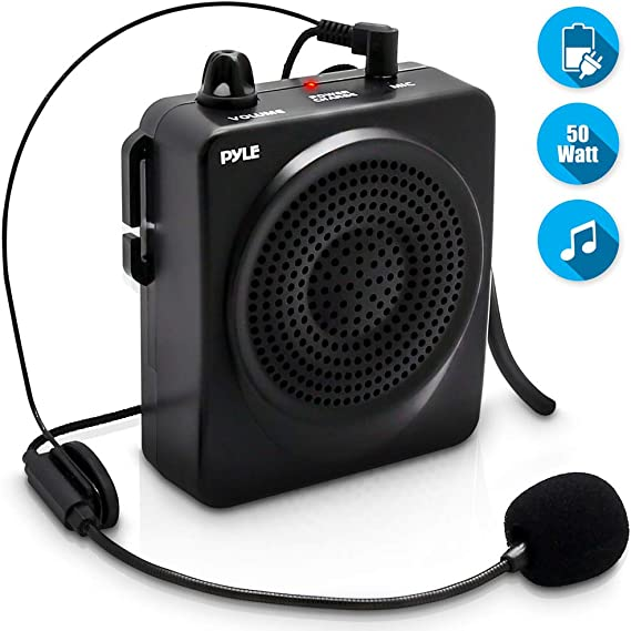 Portable PA Speaker Voice Amplifier - Built-in Rechargeable Battery w/ Headset Microphone Hands-free Waist-Band Strap & Aux 3.5mm Jack for External Audio Stream Devices - Pyle PWMA50B