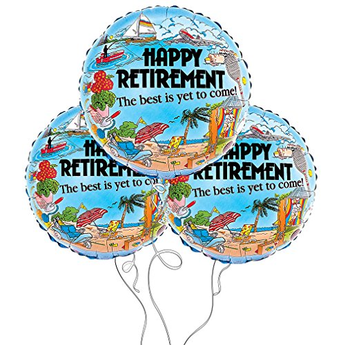 Happy Retirement Themed Mylar Balloon - 3 Packs (3 Pack, Retirement) ()