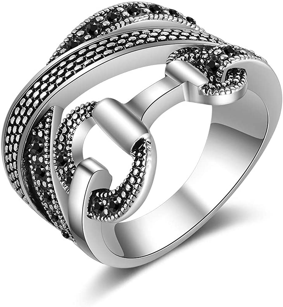Mytys Criss Cross Rings for Women Retro Silver Color Crystal Belt Design Band Ring