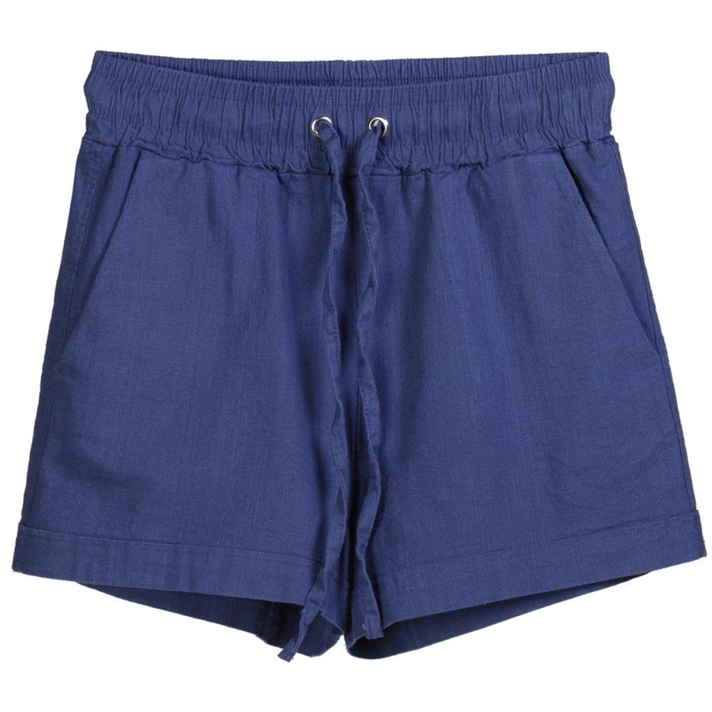 Pantaloni Corti di Lino D Colore Imitazione delle di Classiche Solido Signore Ragazzi Coulisse Pantaloni di Sport Casuali di Estate Elastica della Vita