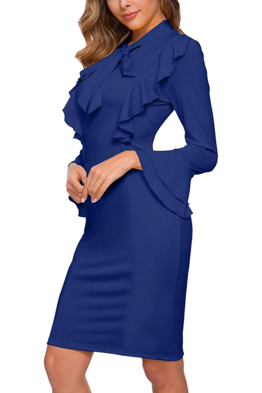 Anggrek Damen Freizeit Kleid Langarm Business Kleider Elegant Bleistiftkleid Damen Bekleidung Agropoin Com