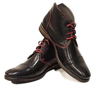 Modello Matamo - Cuero Italiano Hecho A Mano Hombre Piel Negro Chukka Botas Botines - Cuero Cuero Suave - Encaje: Amazon.es: Zapatos y complementos