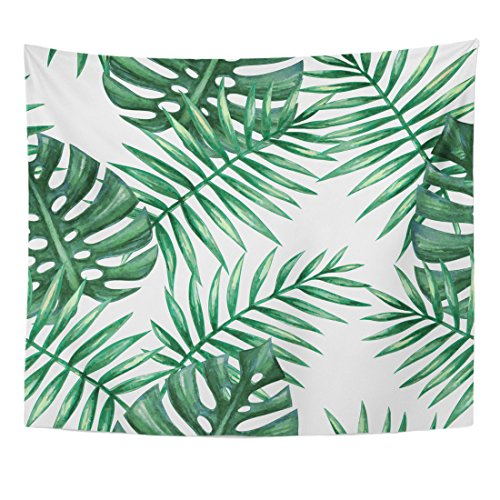 n Leaf Watercolor Tropical Palm Leaves Colorful Tree Summer Home Decor Wall Hanging for Living Room Bedroom Dorm 50x60 Inches ()