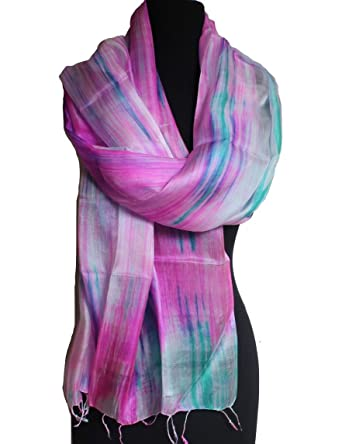 4f9f3872dd1 100% Mulberry Silk Scarf  Hand woven  Hand painted  Pure Silk Scarf ...