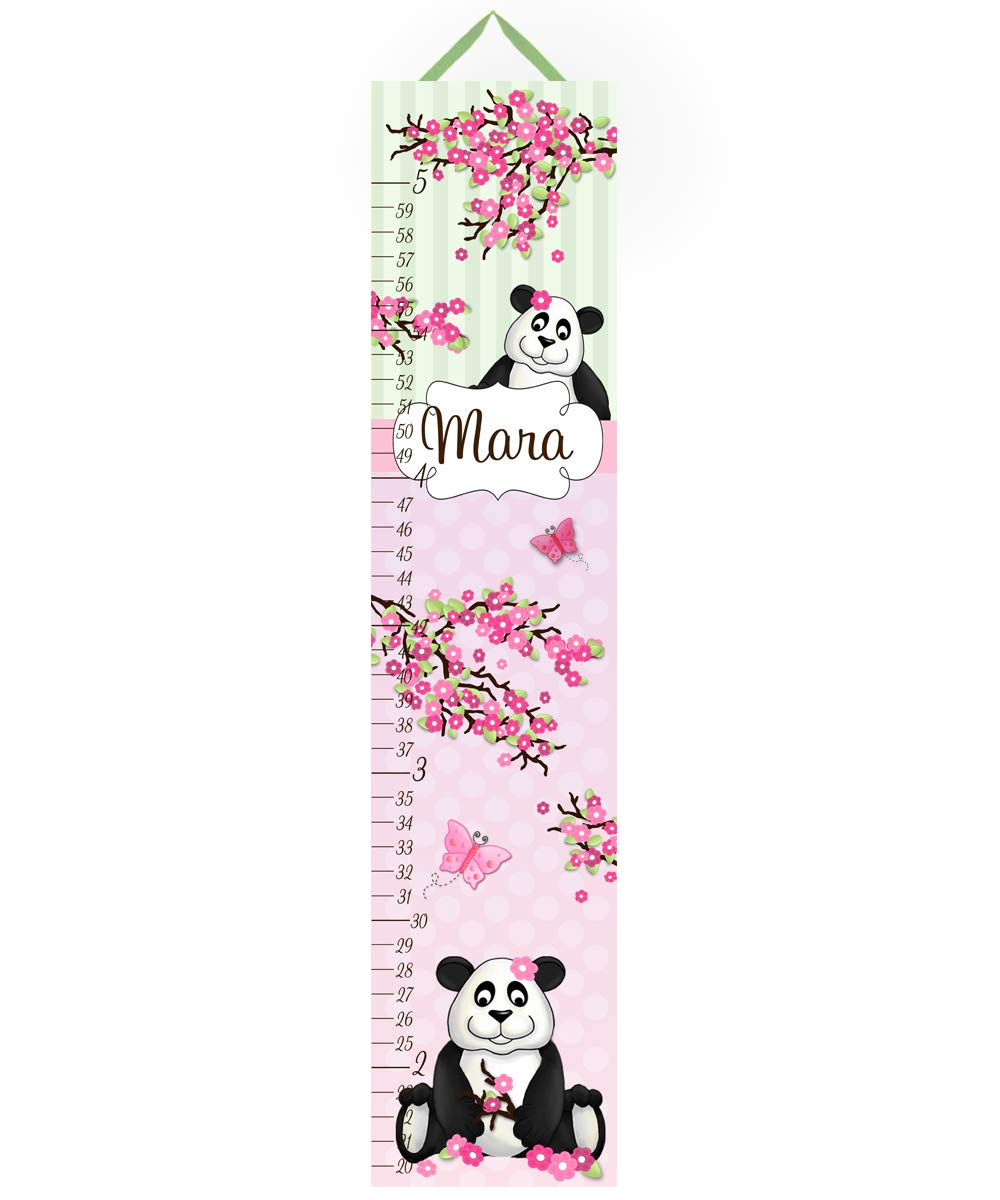 Toad and Lily Canvas Growth Chart Cherry Blossom Panda Bear Girls Bedroom Baby Nursery Bedroom Wall Art GC0185
