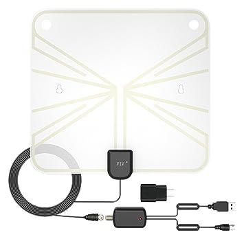 TV Antena Interior Amplificada HDTV Antena 50 – 100 millas Range con desmontable amplificador amplificador de