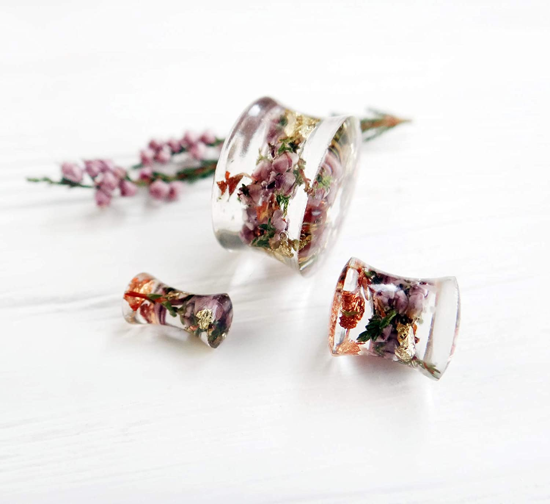 real moss ear plugs flower plug wedding plugs ear gauges floral plug resin plugs real flower gauges floral Plugs girly unique ear tunnel