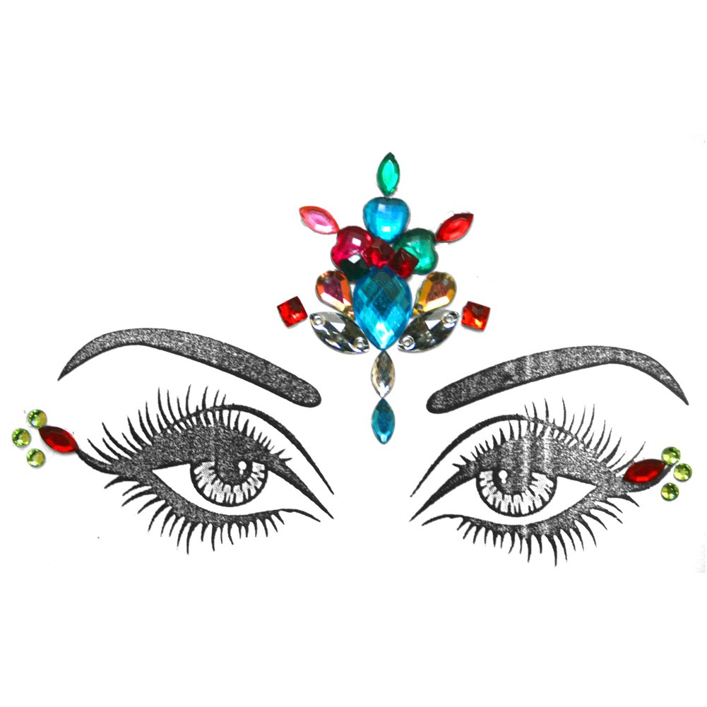 Eye Corners & Face Jewels MultiColor Bindi Rhinestone Forehead Decorations Jewels BridalBindis multi-Forehead-Corners
