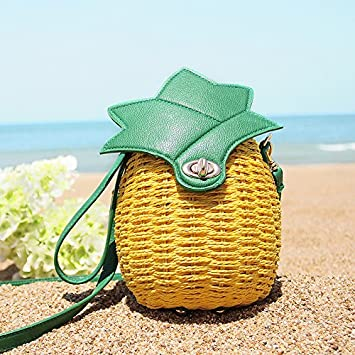 Womens pineapple fruit shape bag straw bag beach bag