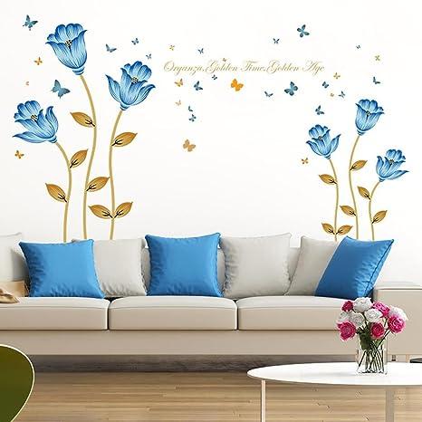 bovake Flores azules 3d de pegatinas para pared de relación Decoración Pared Principal Decoración DIY