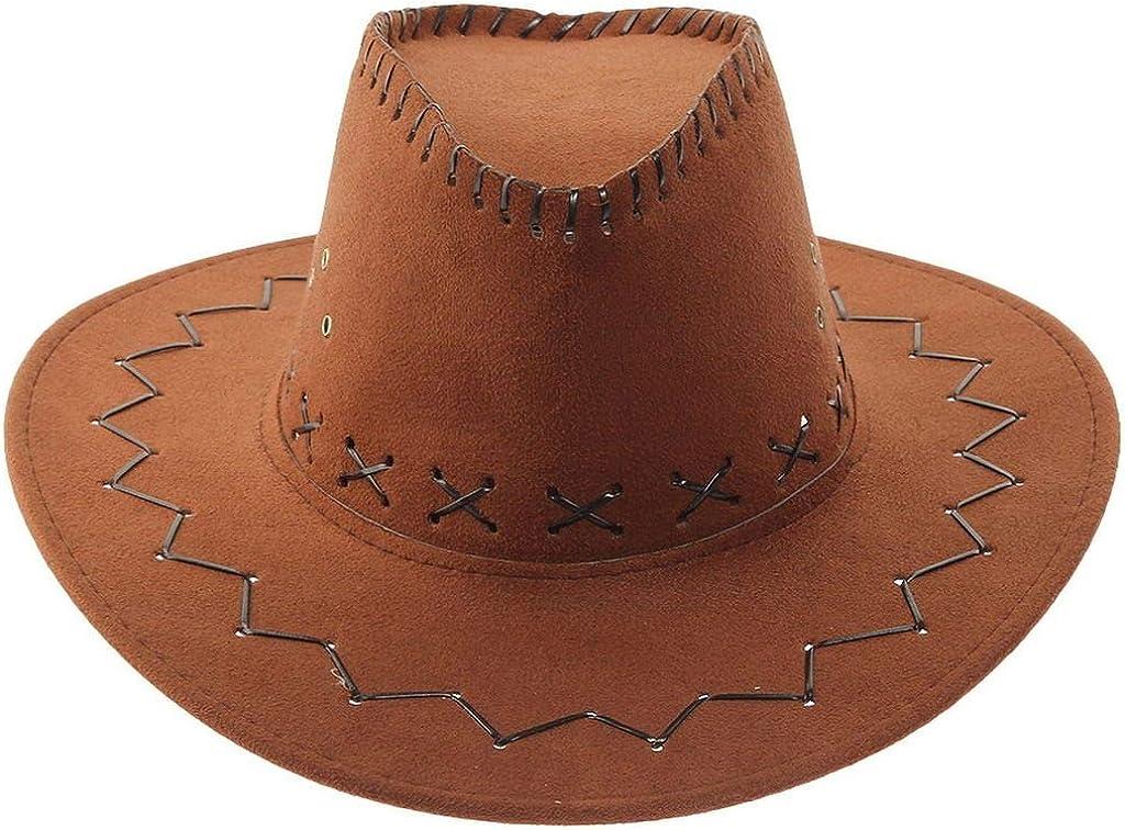 VPbao Sombrero de vaquero clásico de piel de ganado vacuno Outback Western Country Cowgirl Sombreros de vestir para fiestas de disfraces