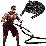 tinkertonk 38mmx9.2M Polyester Battle Rope Workout Cardio & Core Strength Training Fitness Undulation Rope Exercise
