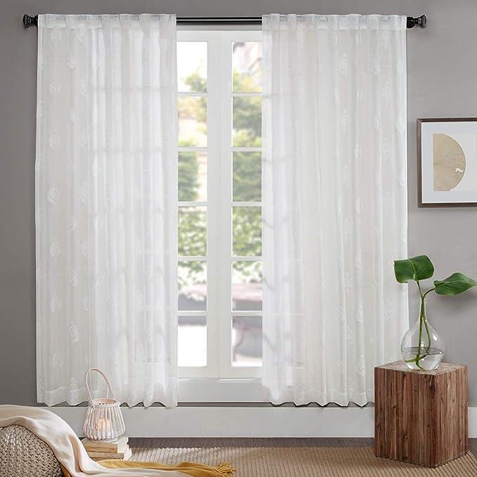Gardine Schals Voile Aria Vorhänge mit versteckten Schlaufen & edel Stickerei Wohnzimmer Modern, Offwhite (2er-Set, je 175x14