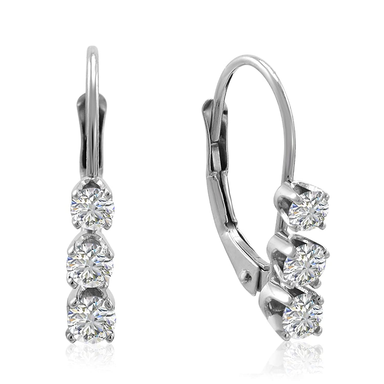 stud set platinum earrings cut bezel diamond round