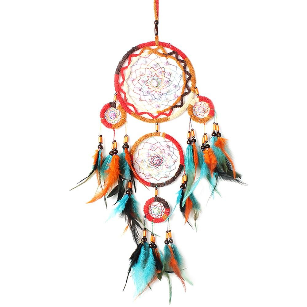 Demiawaking Handmade Crystal Dream Catcher 5 Hoops Wall Hanging with Pink Feathers and Beads Car Wall Hanging Accessories Ornaments Decor Crafts