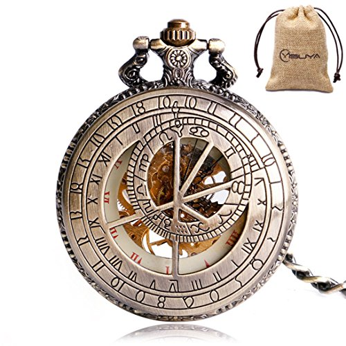 YISUYA Vintage Bronze Mechanical Hand-Wind Pocket Watch Hollow Steampunk Roman Number Dial Fob Watches for Men - With Chain Pocket Wind Watch Up