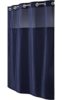 Marvelous Hookless RBH40MY297 Fabric Shower Curtain With Built In Liner  Navy Blue