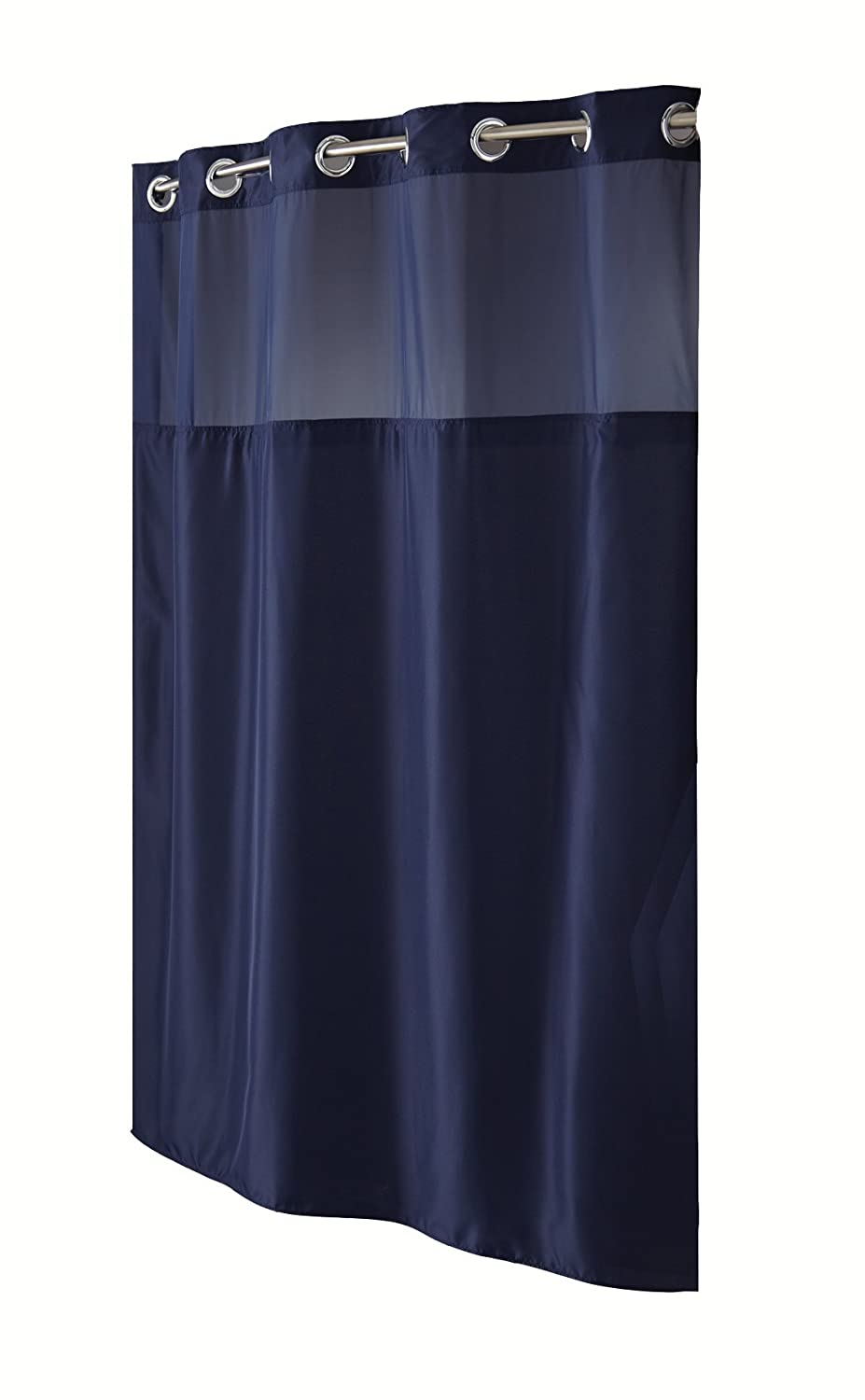 Hookless Fabric Shower Curtain With Built In Liner Navy Blue