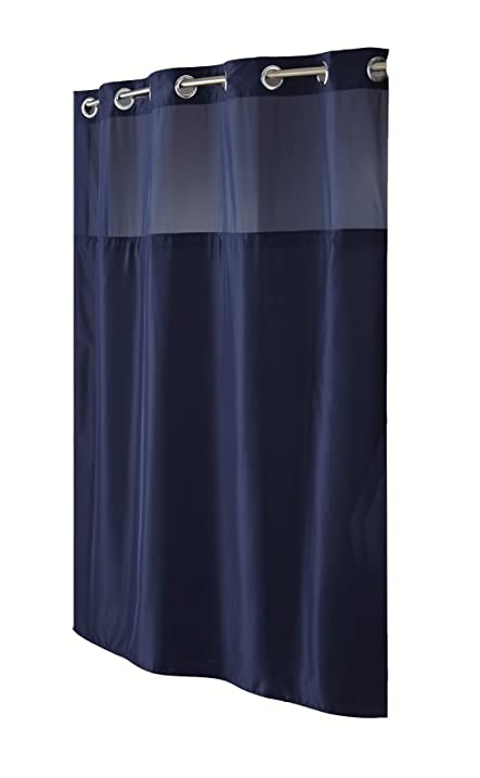 Amazon.com: Hookless RBH40MY297 Fabric Shower Curtain with Built ...