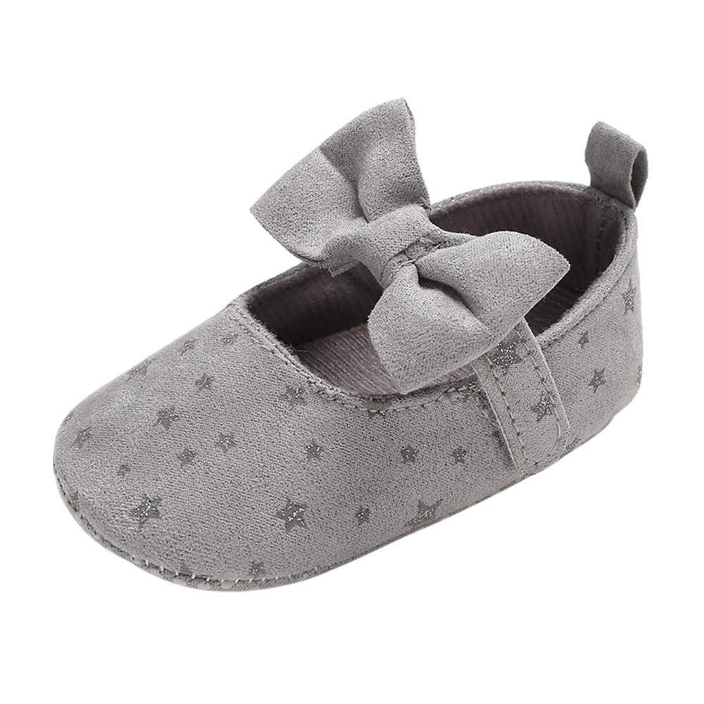 NUWFOR Infant Newborn Baby Girls Shoe Bow Printing Soft Crib Anti-Slip Princess Shoes(Gray,12-18 Months)
