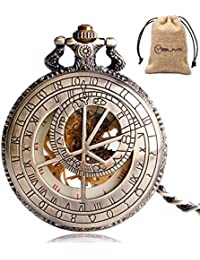 Vintage Bronze Mechanical Hand-Wind Pocket Watch Hollow Steampunk Roman Number Dial Fob Watches for Men Women