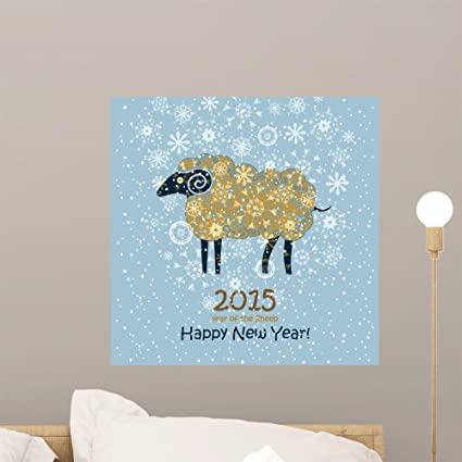 wallmonkeys funny card with a sheep 2015 happy new year wall decal peel and stick