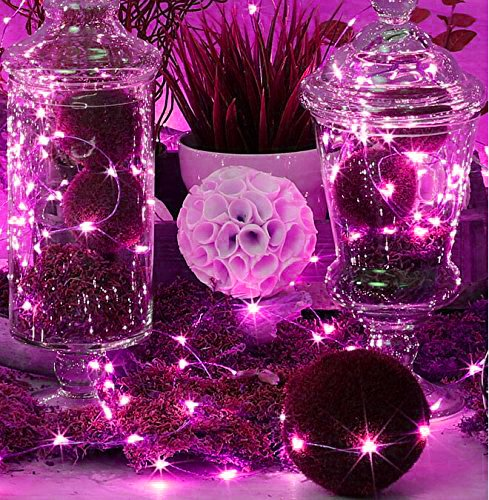 LED SopoTek 7ft 20 LEDS Pink Starry Lights Fairy Lights silver LED Lights Strings AA Battery Powered Ultra Thin String Wire(20 Leds Pink Battery not (Pink String Lights)