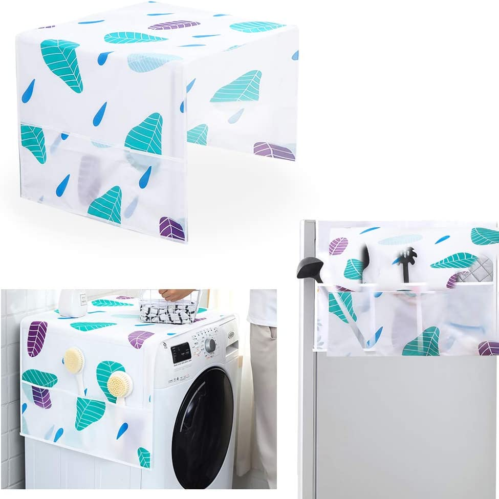 """Refrigerator Dust-Proof Cover,Washing Machine Cover with Storage Pockets Bags,Fridge Dust Cover Oven Cover Multi-Purpose Top Covers 21.3"""" x 51.2"""""""