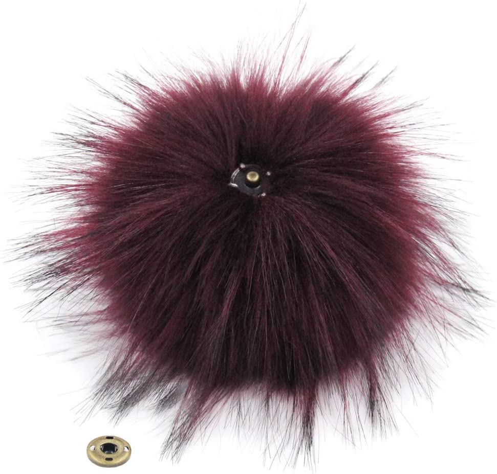 Colorful Mix Furling Pack of 15pcs Faux Raccoon Fur Pompoms Fluffy Fur Balls with Press Buttons Removable Snap Fasteners for Beanie Hat 5 Inches