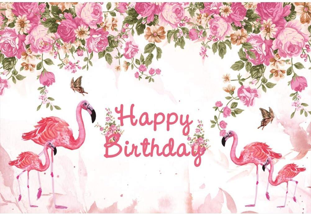 8x6.5ft Happy Birthday Backdrop Pink Flamingo Stand on Shrub Flower Golden Dots Baby Girls Children Kids Party Decor Background Portrait Photography Shoot Studio Photo Props