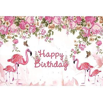 Cassisy 1,5x1m Vinilo Cumpleaños Telon de Fondo Feliz cumpleaños Flamingo Pink Flores Decoracion Mariposa Fondos para Fotografia Party Infantil Photo ...