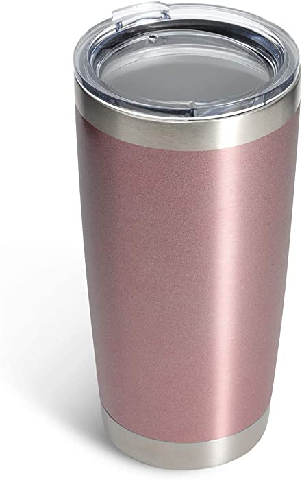 COYOAL 20 oz Stainless Steel Tumbler with Lid, Reusable Metal Coffee Tumbler, Double Wall Vacuum Insulated Tumbler Drink Cup, Blank Travel Coffee Mug, Rose Gold