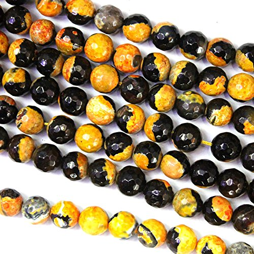 Faceted Black Orange Fire Agate Round Findings Jewerlry Making Gemstone Loose Beads (10mm)