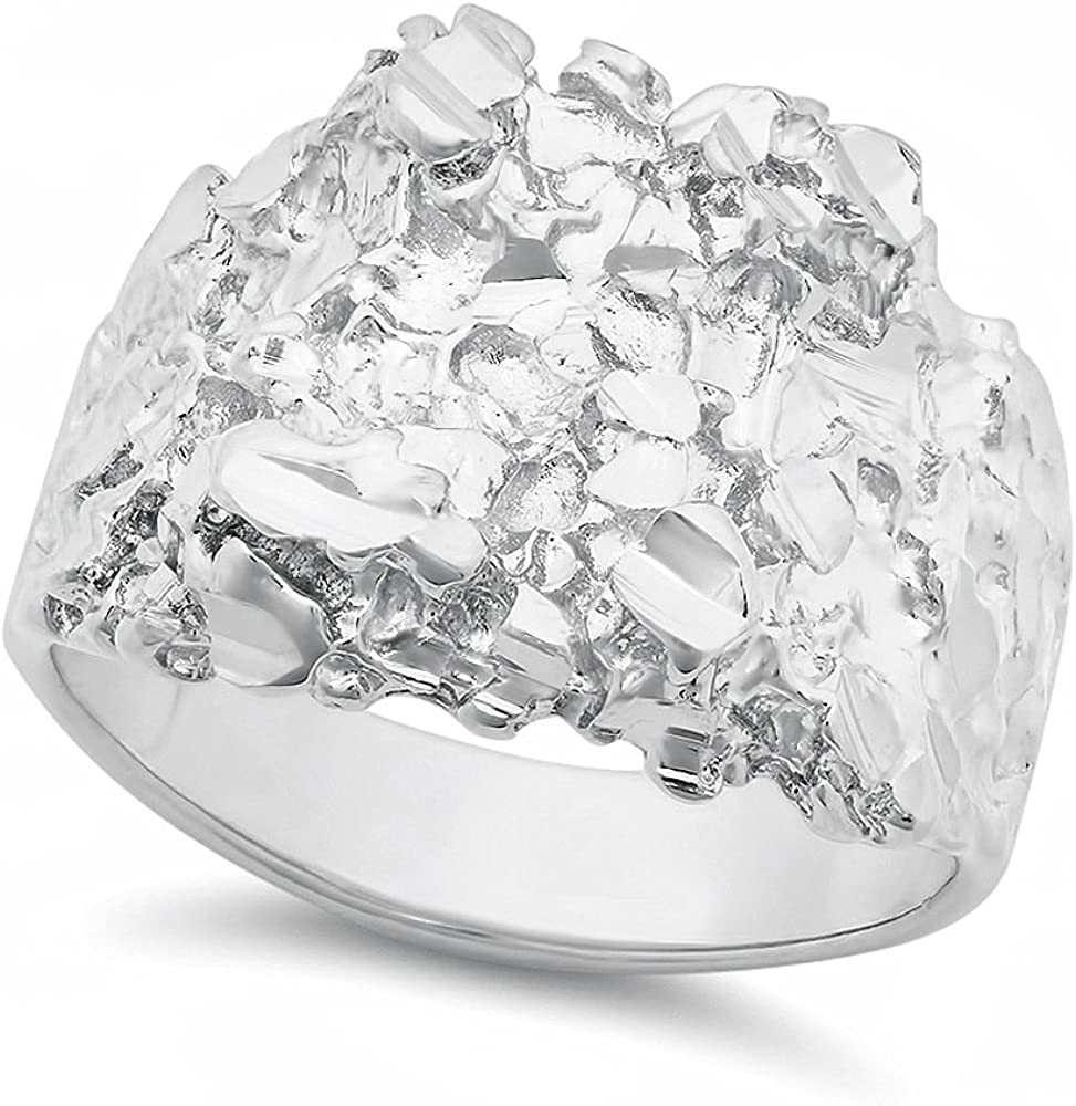 The Bling Factory Men's Rhodium Plated Chunky Nugget Ring - Size 7-14 + Microfiber Polishing Cloth