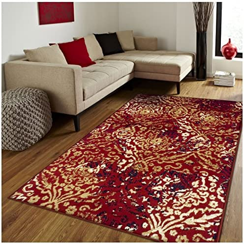 Superior Northman Collection Area Rug, Vintage Ikat Damask Pattern, 10mm Pile Height with Jute Backing, Affordable Contemporary Rugs – Red, 8 x 10 Rug