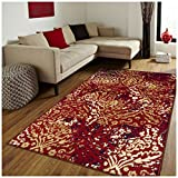 Superior Northman Collection Area Rug, Vintage Ikat Damask Pattern, 10mm Pile Height with Jute Backing, Affordable Contemporary Rugs – Red, 8′ x 10′ Rug For Sale