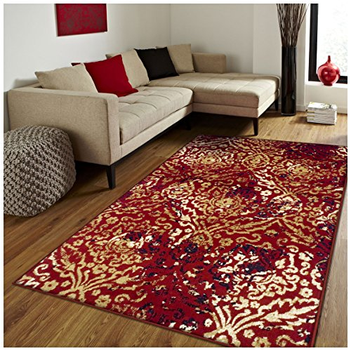 Superior Northman Collection Area Rug, Vintage Ikat Damask Pattern, 10mm Pile Height with Jute Backing, Affordable Contemporary Rugs – Red, 4 x 6
