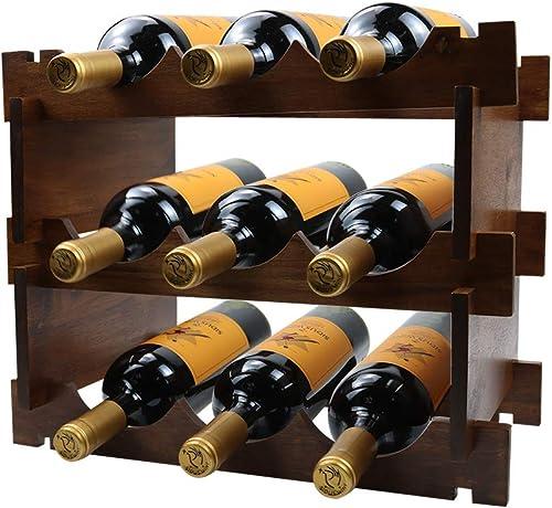 Wine Rack Wood 3 Tier 9 Bottles Capacity Wine Racks Countertop Wine Holder Storage