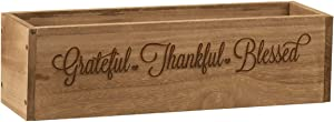 """Fox Valley Traders Rustic Planter Box, Decorative Barnwood Centerpiece Display Tray, Grateful Thankful Blessed, 18"""" Long x 5"""" Wide x 5"""" High"""