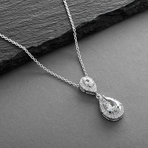 Mariell Silver Platinum Plated CZ Bridal Wedding Prom Teardrop Pendant Necklace