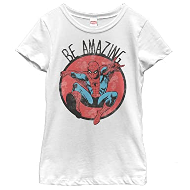 7ab29fb8400 Amazon.com: Marvel Girls' Spider-Man Be Amazing T-Shirt: Clothing