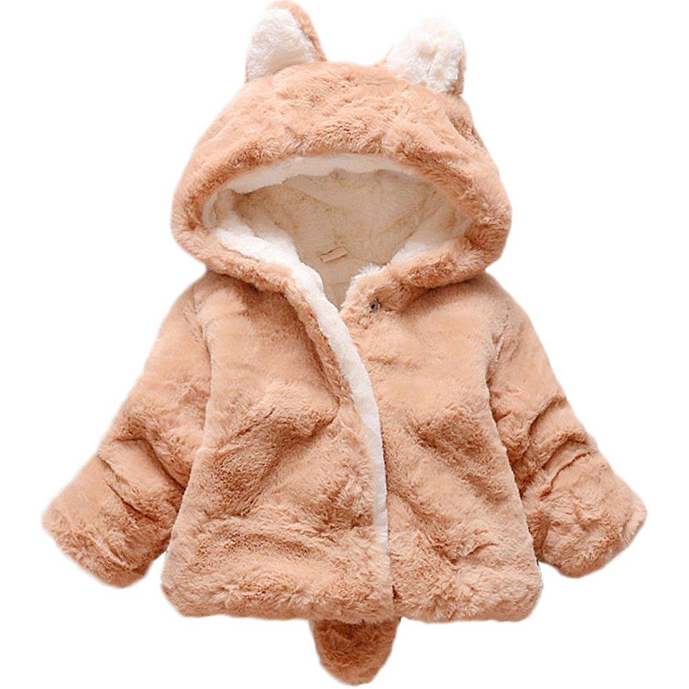 YAOYAO Baby Girls Plush Hoodie Jacket Coat