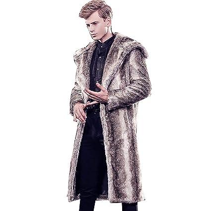 W&TT Faux Fox Abrigo de Piel de Piel de Invierno Hombres gradiente Raya Caliente Chaqueta de