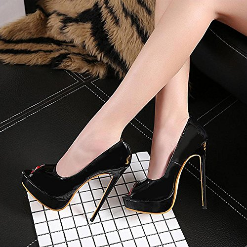 CN39 Negro ZHZNVX Bodas Zapatos Negro Primavera Sandalias Botas US8 para Talón Polipiel Stiletto UE39 Novedad Moda Tulle UK6 Verano Comodidad 4Hf4rq6w
