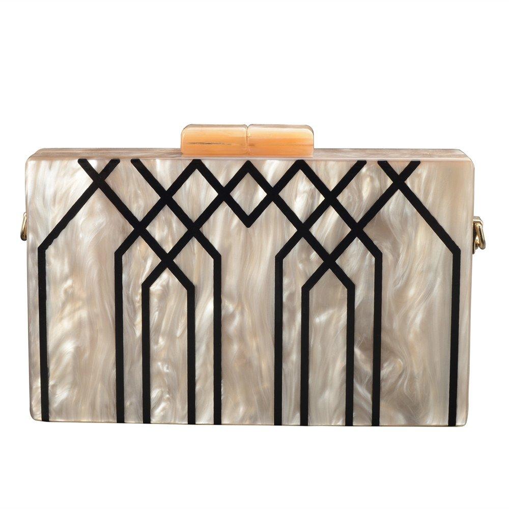GGBAZZARA Women's Evening Handbag box clutch Acrylic Stripes Shoulder Bag for Party Champagne Evening Bag